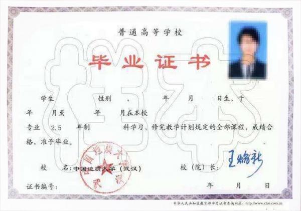 中国地址大学(武汉)毕业证样本